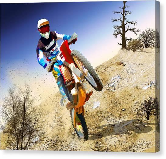 Dirt Bikes Canvas Print - Desert Wheelie Motocross by Elaine Plesser