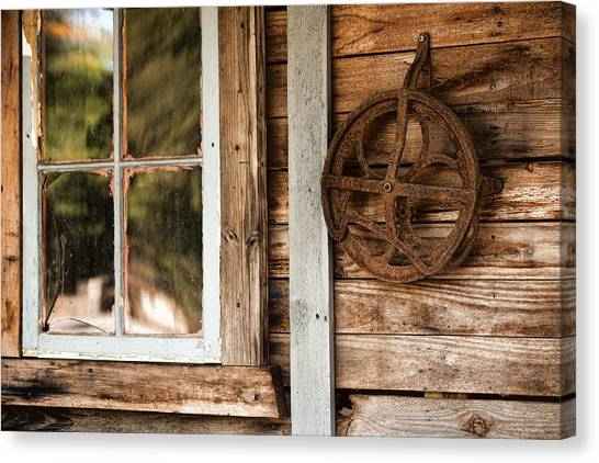 Windowpane Canvas Print - Deserted Homestead by Bonnie Bruno