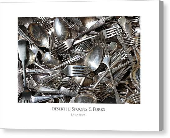 Deserted Spoons And Forkes Canvas Print