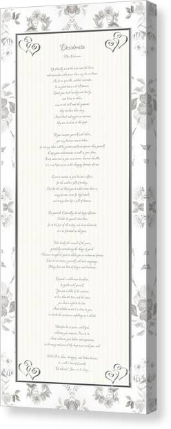 Canvas Print featuring the digital art Desiderata In Silver Script By Max Ehrmann by Rose Santuci-Sofranko