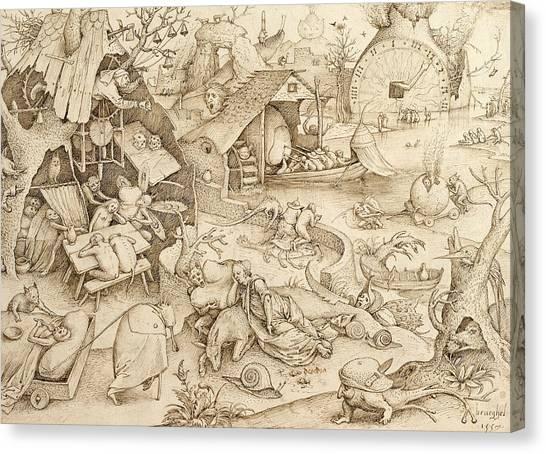 Baroque Canvas Print - Desidia  by Pieter Bruegel the Elder