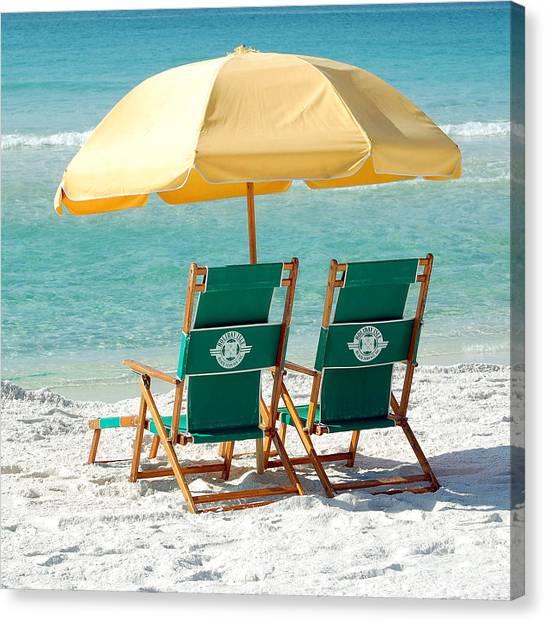 Destin Florida Beach Chairs And Yellow Umbrella Square Format Canvas Print