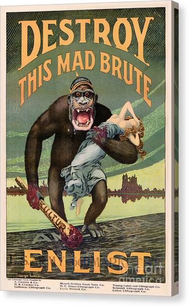 Destroy This Mad Brute - Restored Vintage Poster Canvas Print