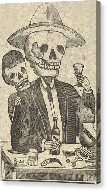 Tequila Canvas Print - Detail From Calavera Tapatia by Everett