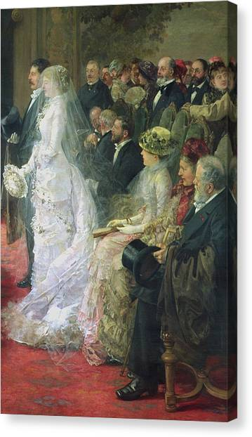 Wedding Gown Canvas Print - Detail From The Civil Marriage by Henri Gervex