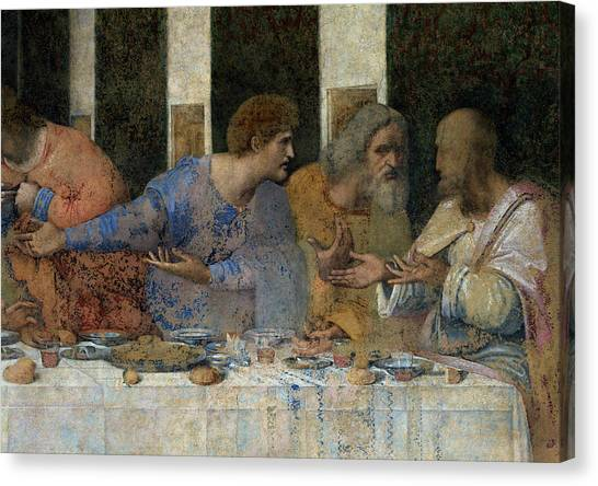 Dinner Table Canvas Print - Detail From The Last Supper by Leonardo da Vinci