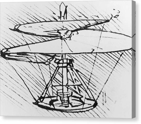 Pen And Ink Drawing Canvas Print - Detail Of A Design For A Flying Machine by Leonardo Da Vinci