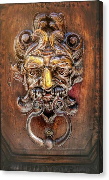 Door Knockers Canvas Print - Detail Of A Door Knocker Geneva Switzerland  by Carol Japp