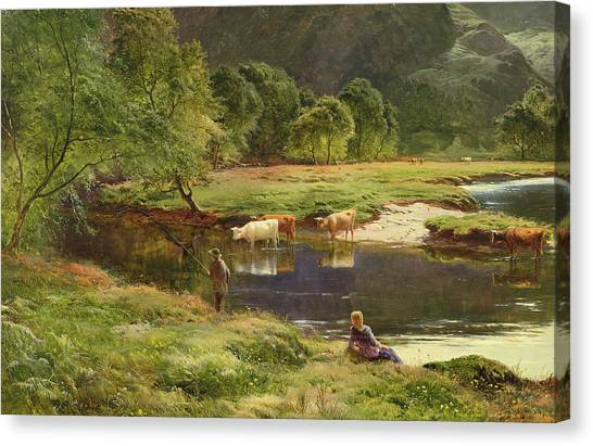 Angling Art Canvas Print - Detail Of A Highland Loch Scene by Sidney Richard Percy