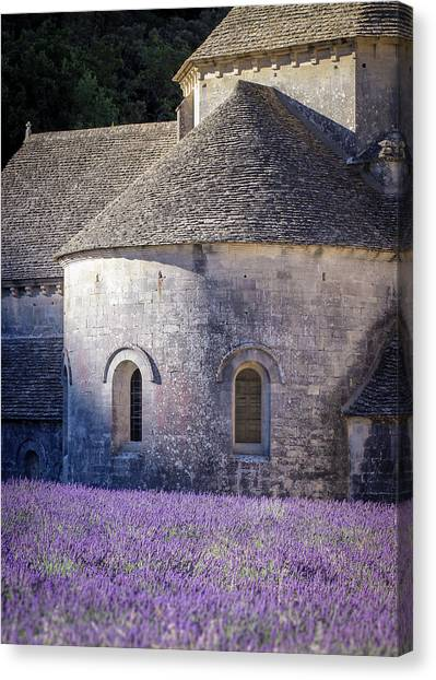 Detail Of Abbaye Senanque, Church In Provence, Southern France, Surrounded By Lavender Canvas Print
