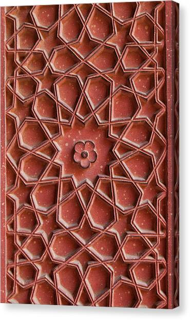 Detail Of Carvings On Wall In Agra Fort Canvas Print by Inti St. Clair