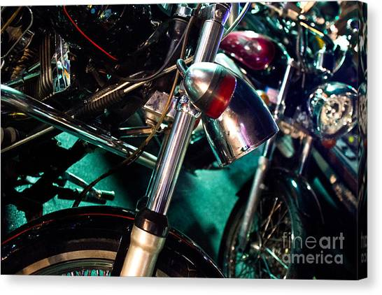 Detail Of Chrome Headlamp On Vintage Style Motorcycle Canvas Print