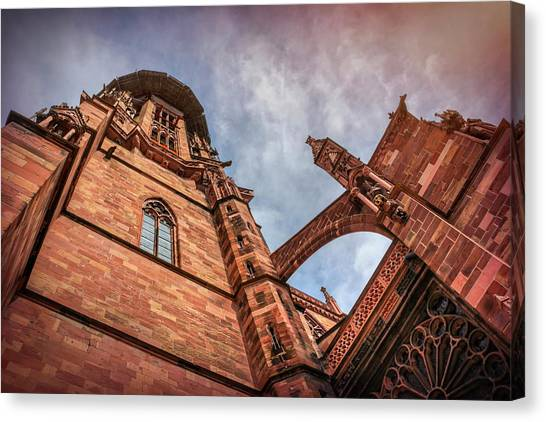 Romanesque Art Canvas Print - Detail Of Freiburg Cathedral Germany  by Carol Japp