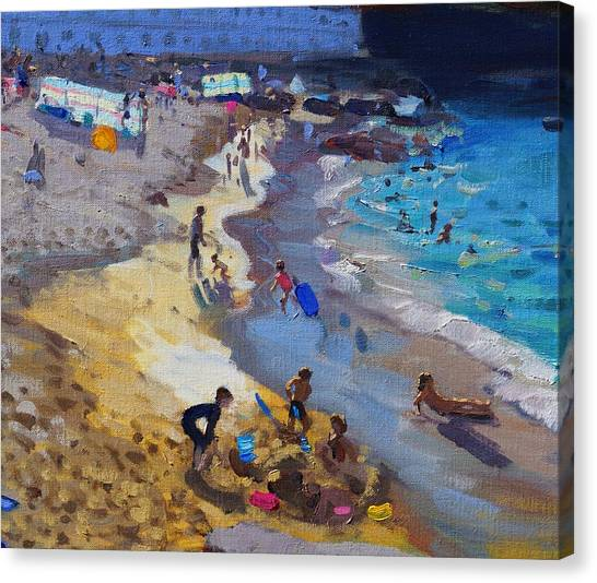 St Ives Canvas Print - Detail Of Overlooking Porthmeor Beach St Ives by Andrew Macara