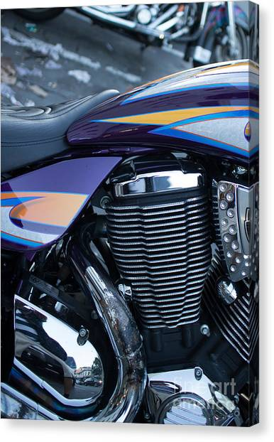 Detail Of Shiny Chrome Cylinder And Engine On Cruiser Motorcycle Canvas Print