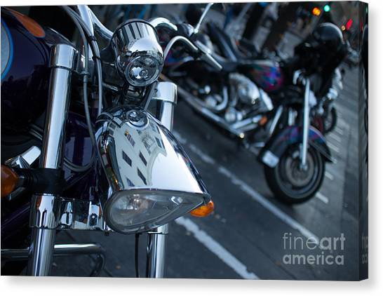 Detail Of Shiny Chrome Headlight On Cruiser Style Motorcycle Canvas Print