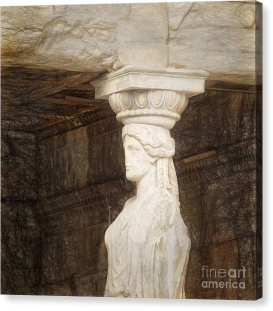 The Acropolis Canvas Print - The Caryatid Porch Of The Erechtheion by HD Connelly