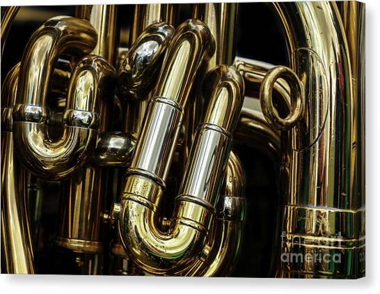 Brass Instruments Canvas Print - Detail Of The Brass Pipes Of A Tuba by Jane Rix