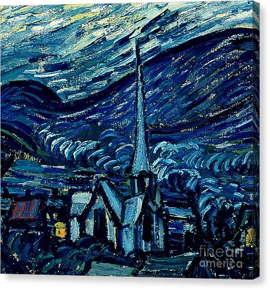 Post-impressionism Canvas Print - Detail Of The Starry Night by Vincent Van Gogh