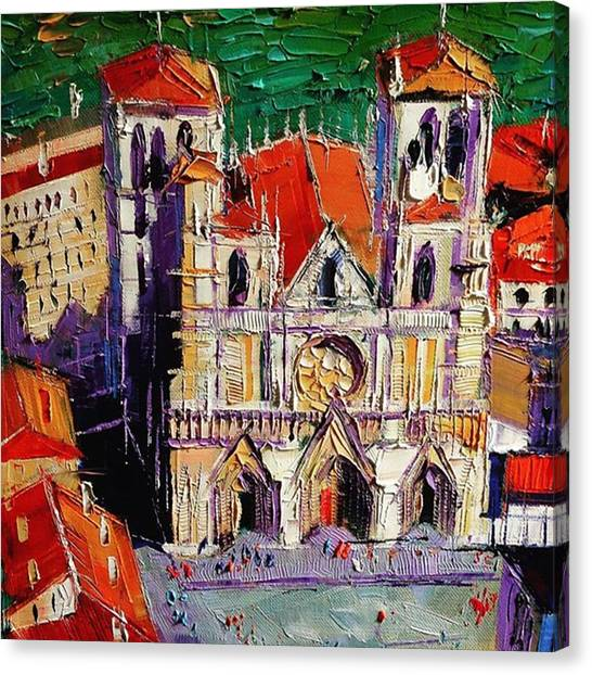 Squares Canvas Print - Detail Shot Of #lyon Cathedral by Mona Edulesco