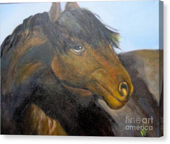 Canvas Print featuring the painting Determination by Saundra Johnson