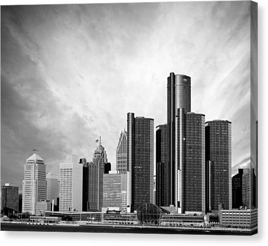 Monochromatic Canvas Print - Detroit Black And White Skyline by Alanna Pfeffer