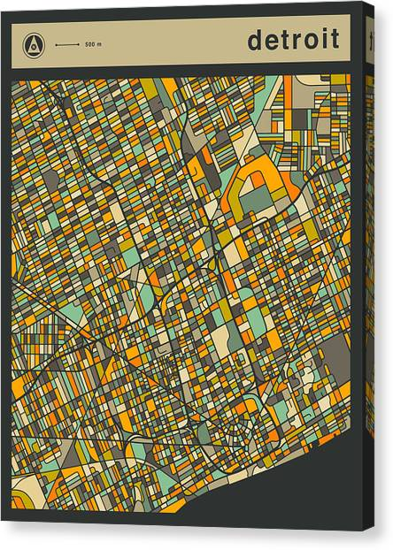 Detroit Canvas Print - Detroit City Map by Jazzberry Blue