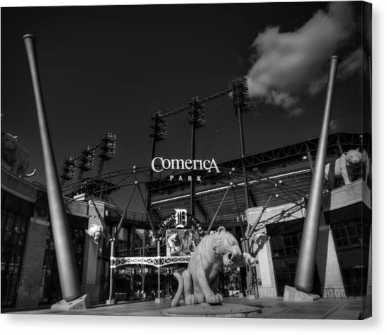 Canvas Print featuring the photograph Detroit - Comerica Park 001 Bw by Lance Vaughn