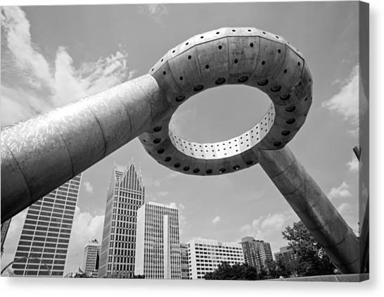 Dodge Canvas Print - Detroit Dodge Fountain Hart Plaza by Alanna Pfeffer