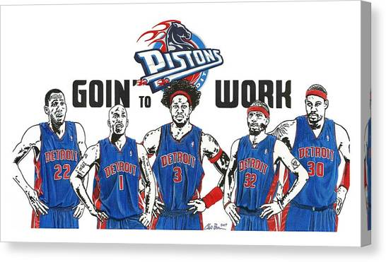 Detroit Pistons Canvas Print - Detroit Goin' To Work Pistons by Chris Brown