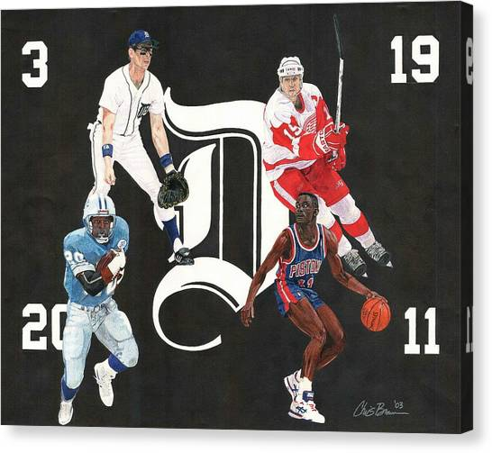 Barry Sanders Canvas Print - Legends Of The D by Chris Brown