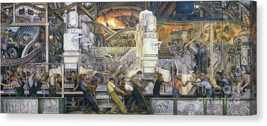 Automobiles Canvas Print - Detroit Industry   North Wall by Diego Rivera