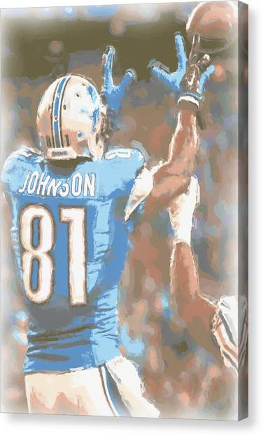Detroit Lions Canvas Print - Detroit Lions Calvin Johnson 2 by Joe Hamilton