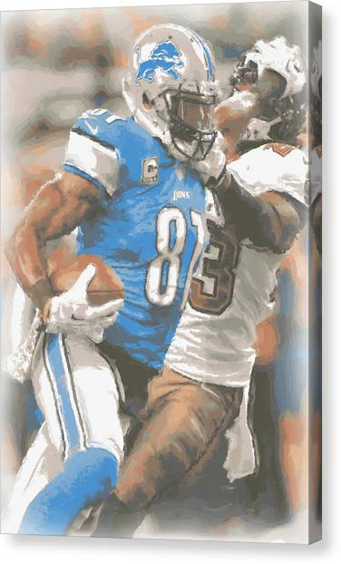 Detroit Lions Canvas Print - Detroit Lions Calvin Johnson 4 by Joe Hamilton