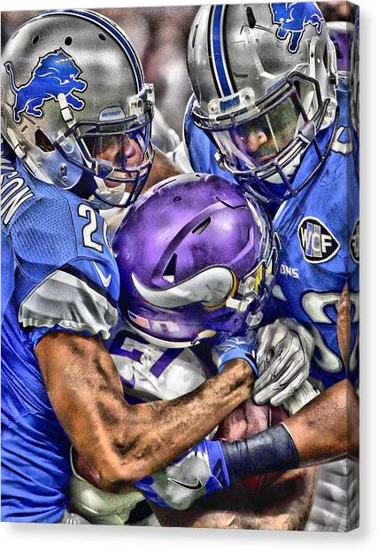 Detroit Lions Canvas Print - Detroit Lions Team Art by Joe Hamilton