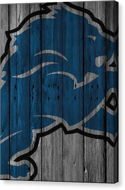 Detroit Lions Canvas Print - Detroit Lions Wood Fence by Joe Hamilton