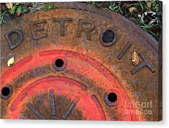 Detroit Manhole Cover Spray Painter Red Canvas Print