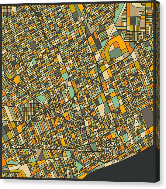 Detroit Canvas Print - Detroit Map by Jazzberry Blue