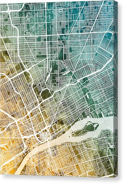 Michigan Canvas Print - Detroit Michigan City Map by Michael Tompsett