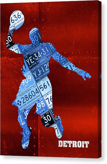 Detroit Pistons Canvas Print - Detroit Pistons Basketball Player Recycled Michigan License Plate Art by Design Turnpike