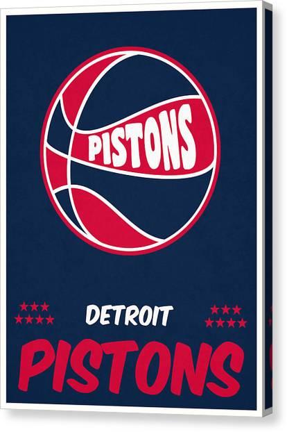 Detroit Pistons Canvas Print - Detroit Pistons Vintage Basketball Art by Joe Hamilton
