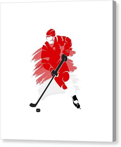 Detroit Red Wings Canvas Print - Detroit Red Wings Player Shirt by Joe Hamilton