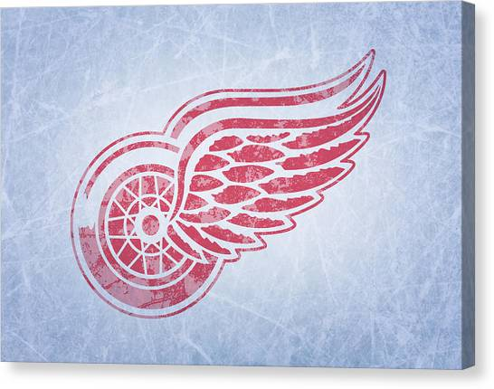 Detroit Red Wings Canvas Print - Detroit Red Wings Vintage Hockey At Center Ice by Design Turnpike