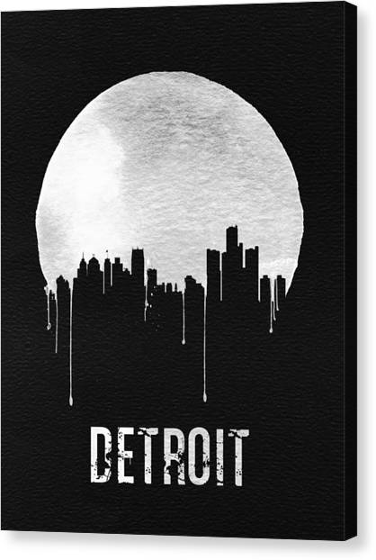 Michigan Canvas Print - Detroit Skyline Black by Naxart Studio