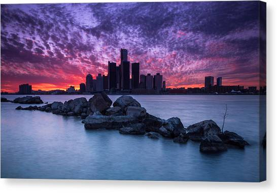 Detroit Red Wings Canvas Print - Detroit Skyline Clouds by Cale Best