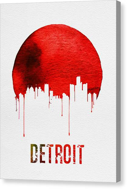 Detroit Canvas Print - Detroit Skyline Red by Naxart Studio