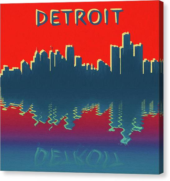 Eastern Michigan University Canvas Print - Detroit Skyline Reflection by Dan Sproul