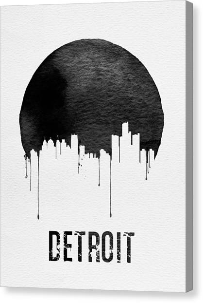 Michigan Canvas Print - Detroit Skyline White by Naxart Studio