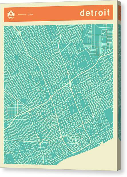 Detroit Canvas Print - Detroit Street Map by Jazzberry Blue