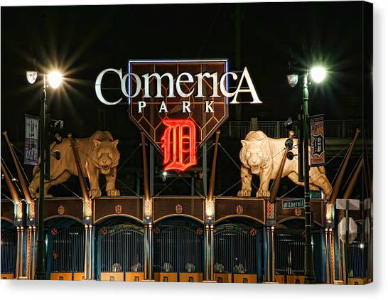 Ty Cobb Canvas Print - Detroit Tigers - Comerica Park by Gordon Dean II